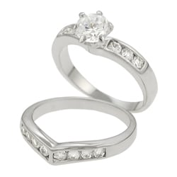 Thumbnail 2, Journee Sterling Silver Bridal Style V-Shape CZ Ring Set. Changes active main hero.