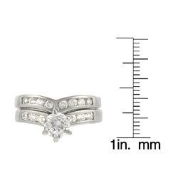 Thumbnail 3, Journee Sterling Silver Bridal Style V-Shape CZ Ring Set. Changes active main hero.