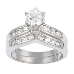 Thumbnail 1, Journee Sterling Silver Bridal Style V-Shape CZ Ring Set.