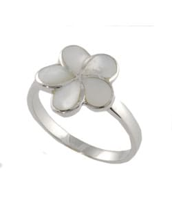 Journee Collection  Sterling Silver Mother of Pearl Flower Ring - Thumbnail 1