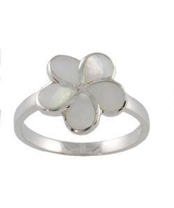 Journee Collection Sterling Silver Mother of Pearl Flower Ring