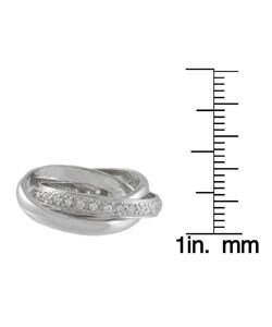 Journee Collection  Sterling Silver Triple Rolo CZ Eternity Ring