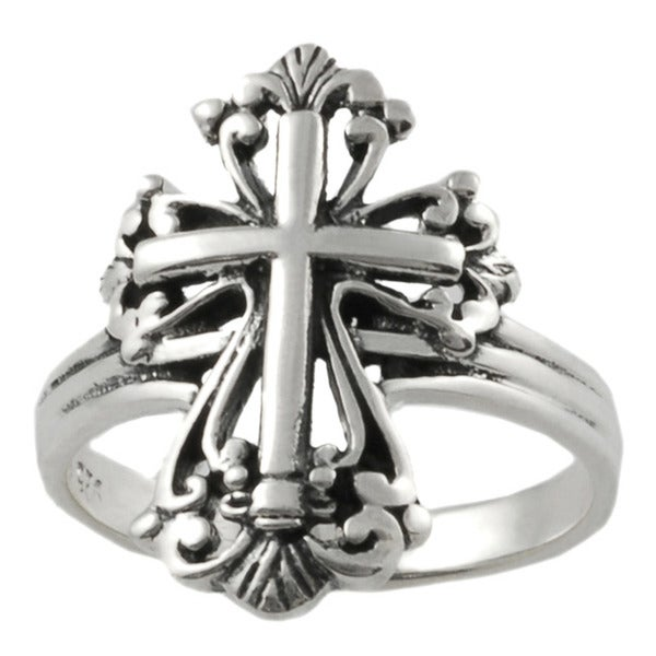 Sterling Silver Cross Statement Ring