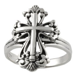 Journee Collection Sterling Silver Stylized Ornate Cross Ring