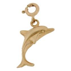 14k Gold Dolphin Charm
