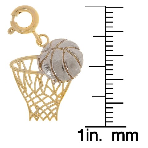 14k Two-tone Gold Basketball Charm