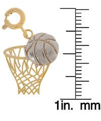 14k Two-tone Gold Basketball Charm