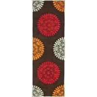 Safavieh Handmade Soho Chrono Brown/ Multi N. Z. Wool Runner - 2'6 x 12'