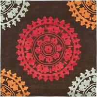 Safavieh Handmade Soho Chrono Brown/ Multi N. Z. Wool Rug - 6'