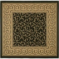 Safavieh Courtyard Scrollwork Black/ Natural Indoor/ Outdoor Rug - 6'7