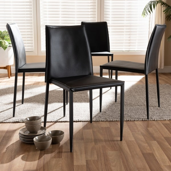 Shop Modern Faux Leather Dining Chair 4 Piece Set By