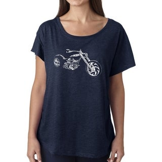 Los Angeles Pop Art Dolman Word Art Shirt - MOTORCYCLE (More options available)