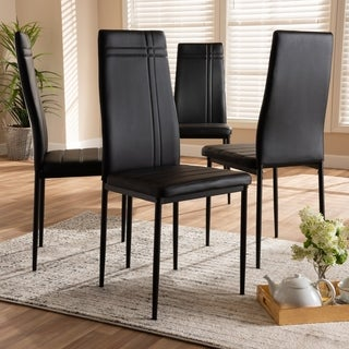 Modern Faux Leather Dining Chair 4-Piece Set by Baxton Studio