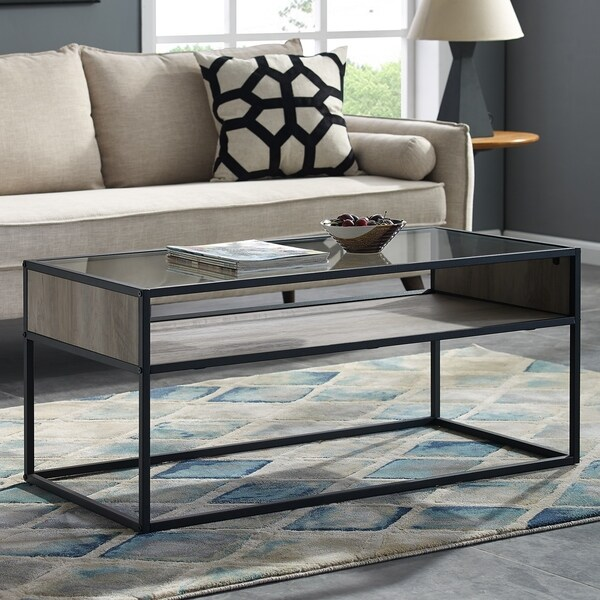 Glass And Metal Coffee Table With Shelf: Shop Metal And Glass Coffee Table With Open Shelf