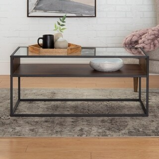40 inch Contemporary Metal and Glass Coffee Table with Open Shelf