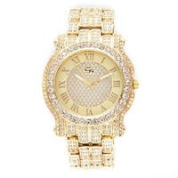 Hip Hop Iced Out Gold Bling Luxurious Men's Rapper Watch Iced Out Gold Tone Cuban Bracelet Set - N/A