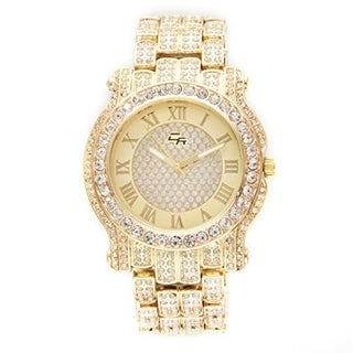 Hip Hop Iced Out Gold Bling Luxurious Men's Rapper Watch Iced Out Gold Tone Cuban Bracelet Set - N/A - N/A