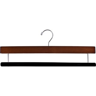 Extra Long Wooden Pants Hanger with Flocked Non-Slip Velvet Bar