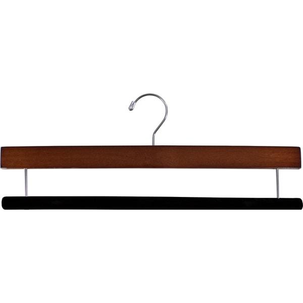 Extra Long Wooden Pants Hanger with Flocked Non-Slip Velvet Bar