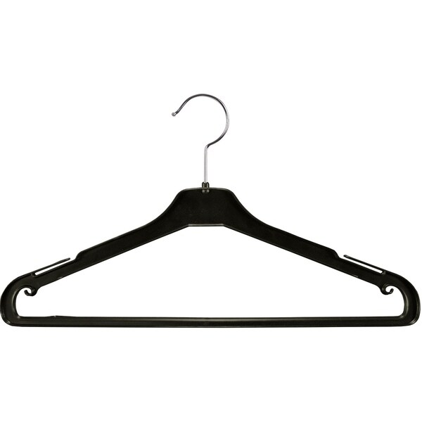 Black Plastic Suit Hanger with Non-Slip Pant Bar and Extra Long Notches Box of 100