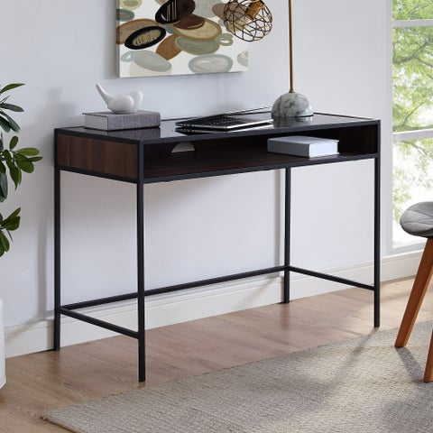 Carbon Loft Cohn Industrial Desk Metal Wood and Glass with Shelf
