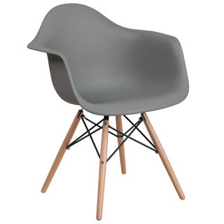 Modern Mid-Century Designed Grey Arm Chair with Artistic Wood Legs