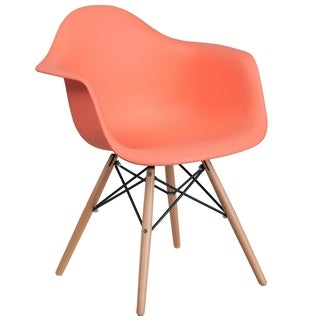 Modern Mid-Century Designed Peach Arm Chair with Artistic Wood Legs