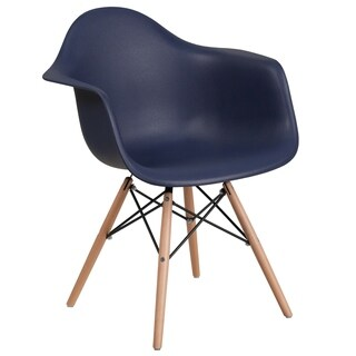 Modern Mid-Century Designed Navy Arm Chair with Artistic Wood Legs