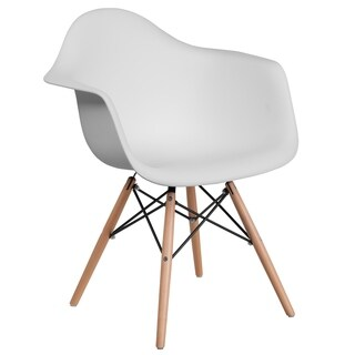 Modern Mid-Century Designed White Arm Chair with Artistic Wood Legs