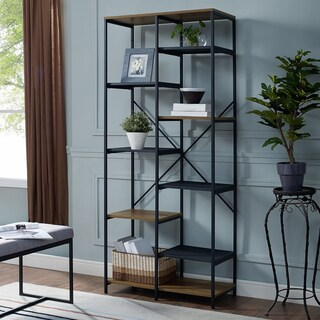 Industrial Open Multi-Level Mesh and Wood Bookshelf with X bar