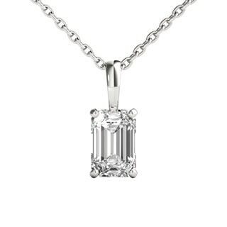 Seraphina 18k Gold 0.70ct TDW Emerald Cut Diamond Pendant Necklace