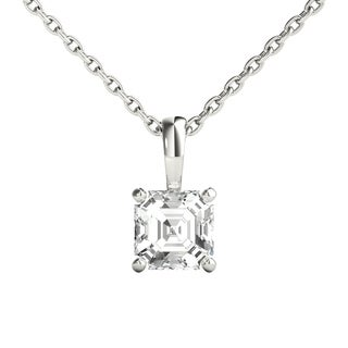 Seraphina 14k Gold 0.5ct TDW Asscher Cut Diamond Pendant Necklace