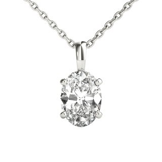 Seraphina 18k Gold 0.70ct TDW Oval Cut Diamond Pendant Necklace