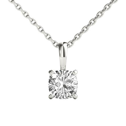 Seraphina 18k Gold 1/2ct TDW Cushion Cut Diamond Pendant Necklace