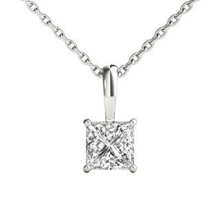 Seraphina 18k Gold 1/2ct TDW Princess Cut Diamond Pendant Necklace