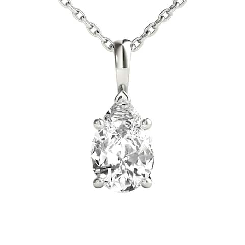 Seraphina 14k Gold 0.70ct TDW Pear Cut Diamond Pendant Necklace