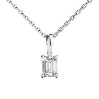Seraphina 14k Gold 0.30ct TDW Emerald Cut Diamond Pendant Necklace