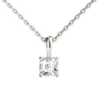 Seraphina 14k Gold 0.30ct TDW Asscher Cut Diamond Pendant Necklace