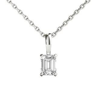 Seraphina 18k Gold 0.30ct TDW Emerald Cut Diamond Pendant Necklace
