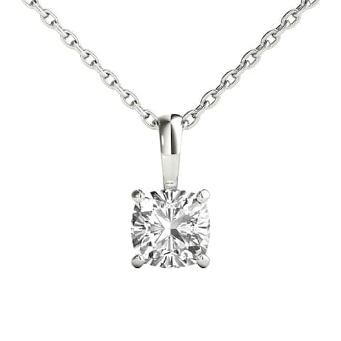 Seraphina 14k Gold 1/2ct TDW Cushion Cut Diamond Pendant Necklace