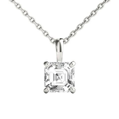 Seraphina 14k Gold 0.70ct TDW Asscher Cut Diamond Pendant Necklace