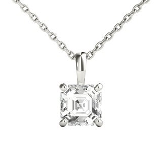 Seraphina 14k Gold 0.70ct TDW Asscher Cut Diamond Pendant Necklace