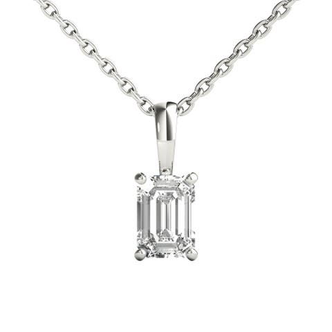 Seraphina 14k Gold 1/2ct TDW Emerald Cut Diamond Pendant Necklace