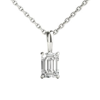 Seraphina 14k Gold 1/2ct TDW Emerald Cut Diamond Pendant Necklace