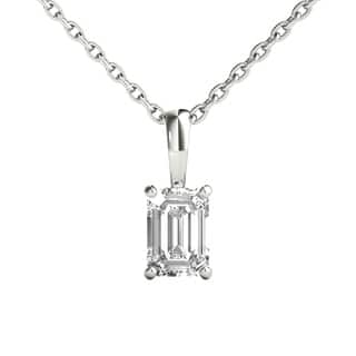 Buy emerald diamond necklaces online at overstock our best seraphina 14k gold 12ct tdw emerald cut diamond pendant necklace aloadofball Choice Image
