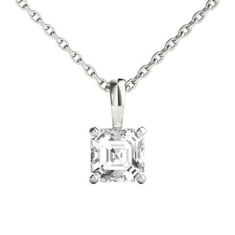 Seraphina 18k Gold 1/2ct TDW Asscher Cut Diamond Pendant Necklace
