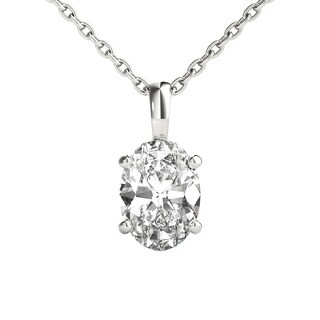 Seraphina 14k Gold 0.70ct TDW Oval Cut Diamond Pendant Necklace