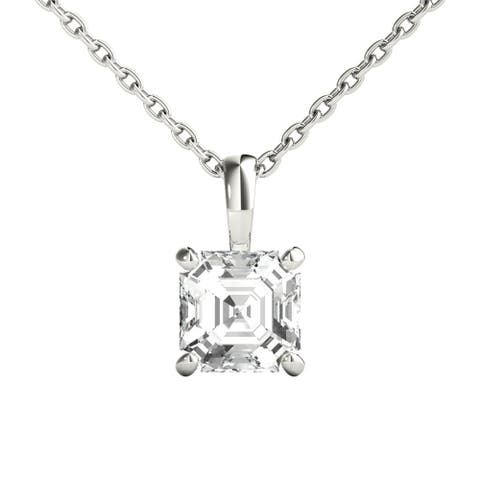 Seraphina 18k Gold 0.70ct TDW Asscher Cut Diamond Pendant Necklace