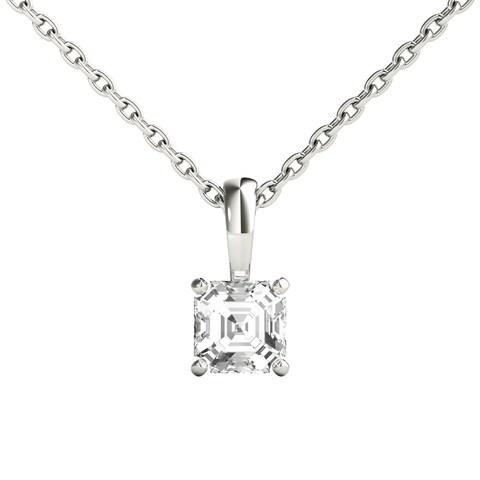 Seraphina 18k Gold 0.30ct TDW Asscher Cut Diamond Pendant Necklace