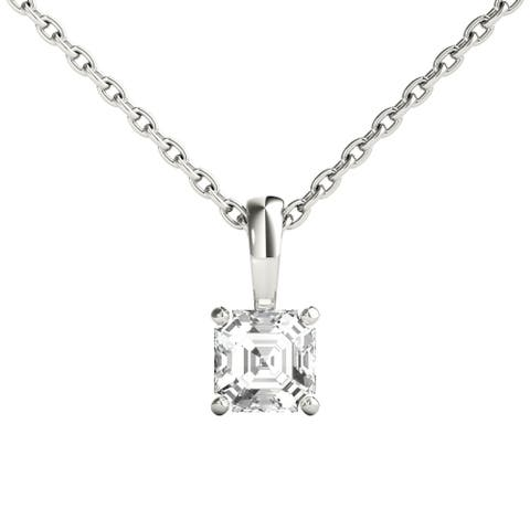 Seraphina 18k Gold 0.30ct TDW Asscher Cut Diamond Pendant Necklace